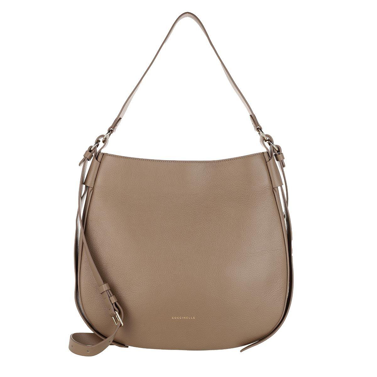 Coccinelle Hobo Bag - Borsa Pelle Vitello Taupe - in beige - für Damen